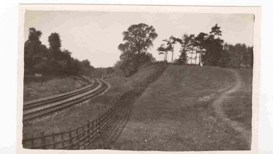 The motte with railway line alongside, courtesy of CCAN.